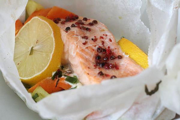 receta papillote salmon verduras