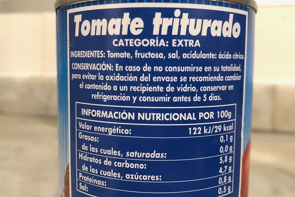 calorías pasta salsa de tomate