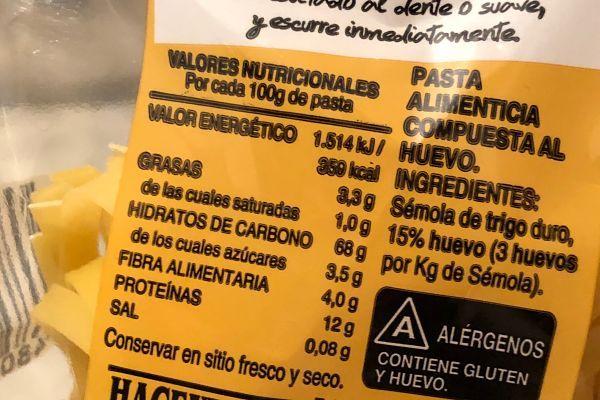 calorías pasta